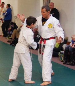 The legendary Royler Gracie working with one of our kids at a seminar held at Gracie Humaita KC in 2014.
